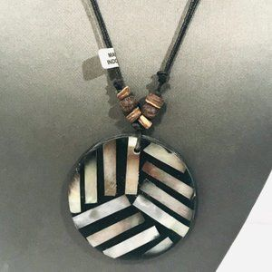 Bohemian Pendant Mandala Necklace Mother of Pearl